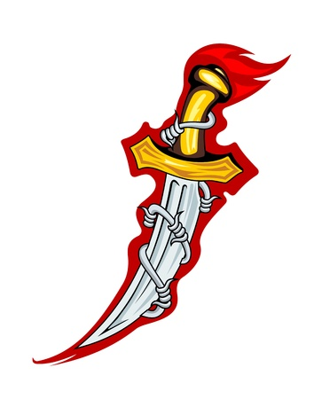 dagger: Medieval dagger with barbed wire for tattoo or mascot design