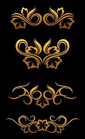 Golden floral borders set for ornate and decoration Stock Vector - 12072963
