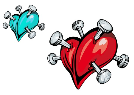 tattoos: Broken heart with nails for t-shirt design Illustration