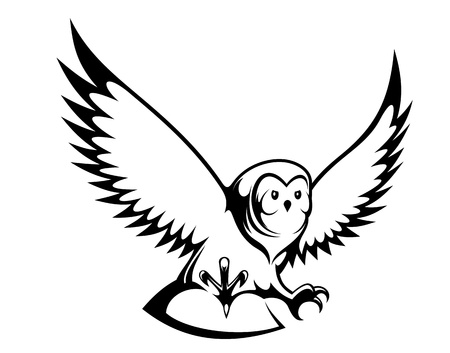 b�ho caricatura: Al vuelo del b�ho mascota o el dise�o del tatuaje