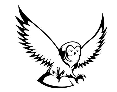 hibou: Chouette volante pour mascotte ou conception de tatouage Illustration