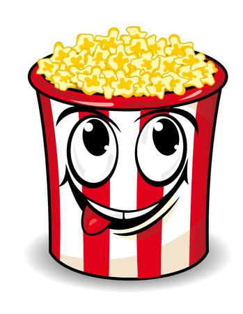 corn kernel: Smiling popcorn box in cartoon style for snack design