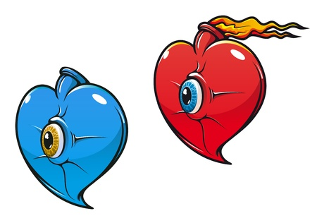 Danger heart with eye in cartoon style in two variations Vector