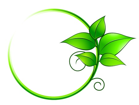 herbal background: Green frame with leaves for ecology or environment concept design Illustration