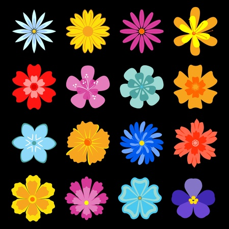 Set of flower blossoms for design and decoration Stock Vector - 12073000