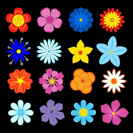 blue daisy: Set of flower blossoms and elements for design and decoration