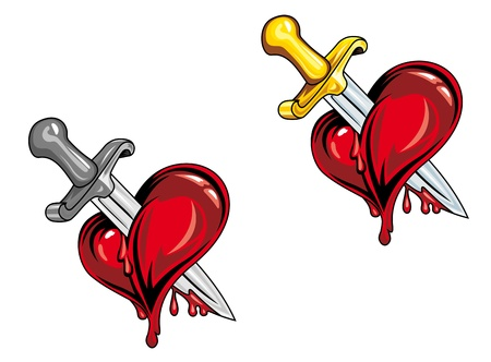 Cartoon heart with medieval dagger in retro style for tattoo design Vector