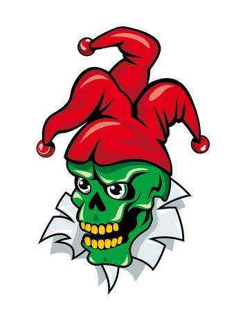 skull tattoo: Joker schedel op gescheurde papier voor tatoeage of t-shirt design Stock Illustratie