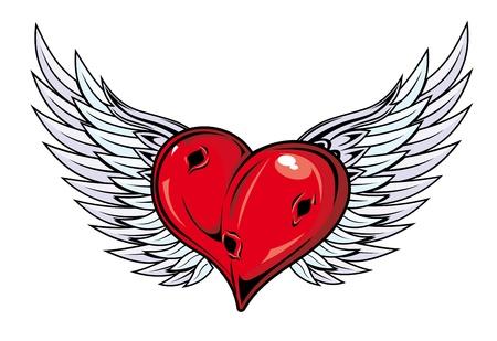 corazon con alas: Con las alas del coraz�n medieval de la religi�n o el dise�o del tatuaje
