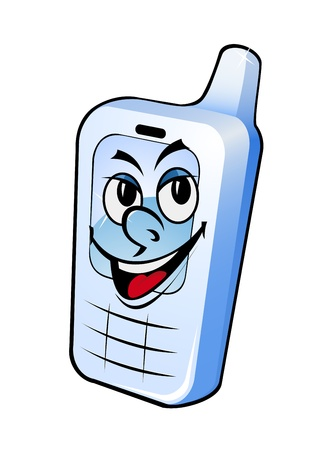 portable information device: Smiling phone in cartoon style for mobile communication design Illustration