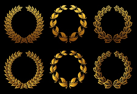 Set of laurel wreaths for badge or label design Vector