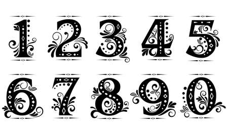 numbers: Vintage digits and numbers set with decorations Illustration
