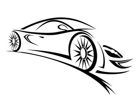 coche: Silueta de coche de carreras para los deportes de diseño