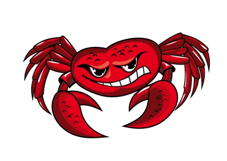 crawfish: Danger crab with claws for mascot or sailor tattoo design