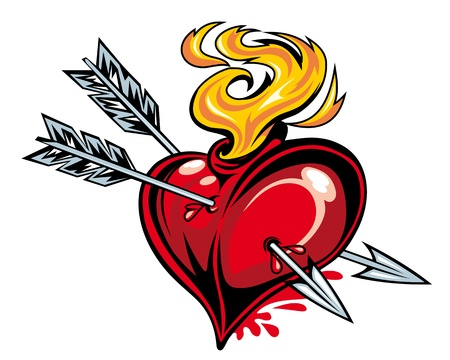 Cartoon red heart with two arrows for tattoo design Vector