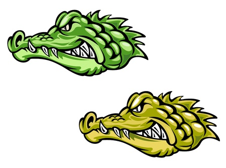 cayman: Green and brown alligator crocodile head for mascot design