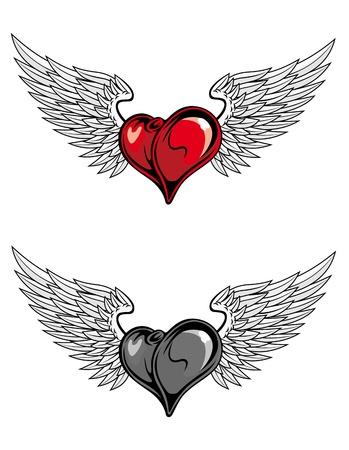 engel tattoo: Mittelalterliche Herz mit Fl�geln f�r Religion oder Tattoo-Design in der Farbe und ents�ttigen Version Illustration