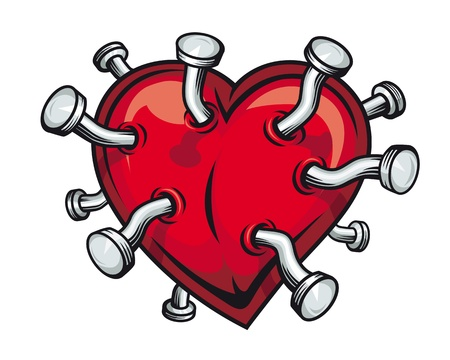 wounded heart: Retro heart with bent nails for t-shirt or mascot design