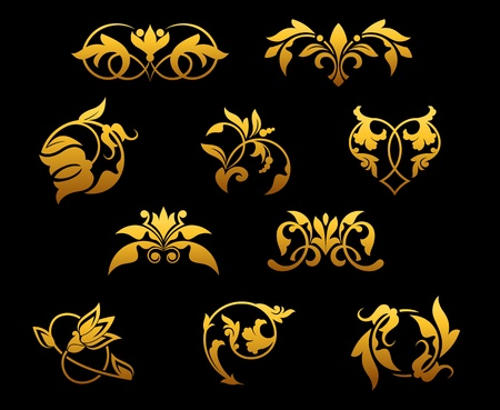 Vintage golden flowers set for ornate and decorations Stock Vector - 12306832