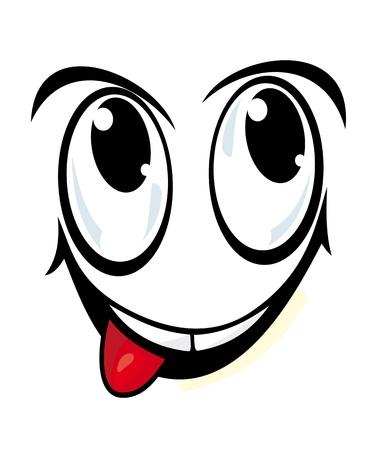yeux maquill�: Visage souriant dans le style bande dessin�e pour la bande dessin�e de conception Illustration