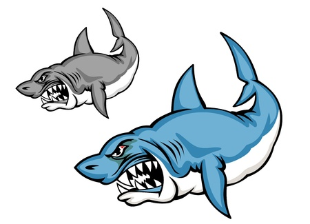 Danger blue shark in cartoon style isolated on white background Vector