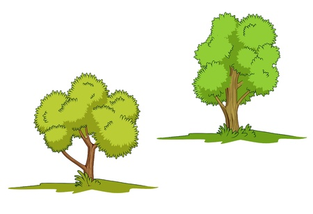Green trees with grass isolated on white background Illustration