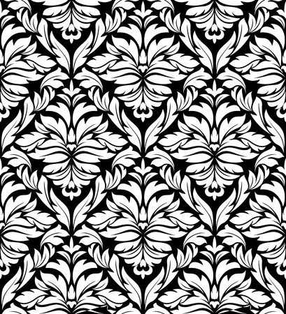 Seamless damask background in white and black colors Stock Vector - 12306882