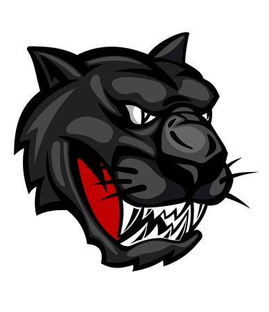 jaguar: Cabeza de pantera salvaje aislado sobre fondo blanco para el diseño de la mascota Vectores