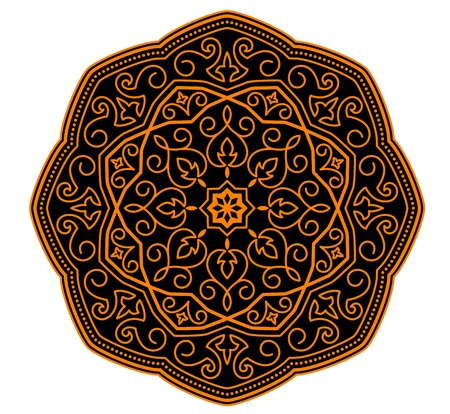 floral abstract: Circle ornament in medieval style for decorate plates or another background