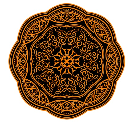 ornamental scroll: Circle ornament in medieval style for decorate plates or another background