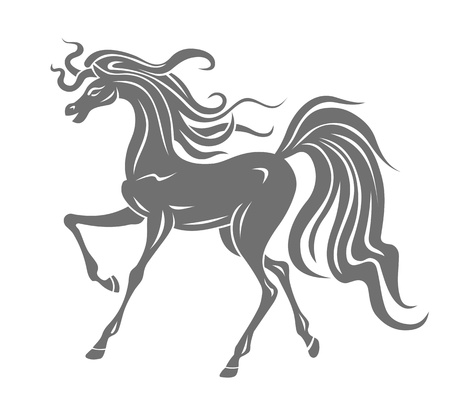 grace: Silhouette of gray horse for equestrian design Illustration
