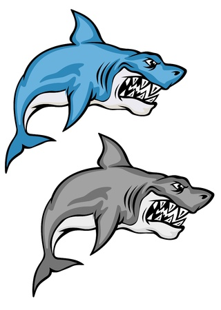 Set of danger sharks in cartoon style isolated on white background Vector