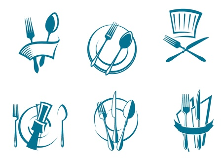 dinner dish: Restaurant menu icons and symbols set for food industry design
