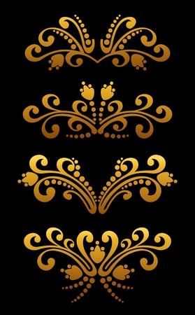 Vintage golden flower elements and patterns set for ornate and decoration Stock Vector - 12306833