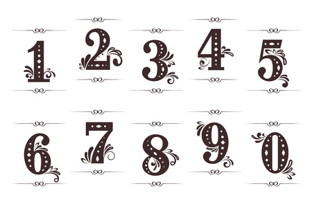 nombres: Vintage chiffres et les num�ros de d�finir avec s�parateurs isol�s sur fond blanc Illustration