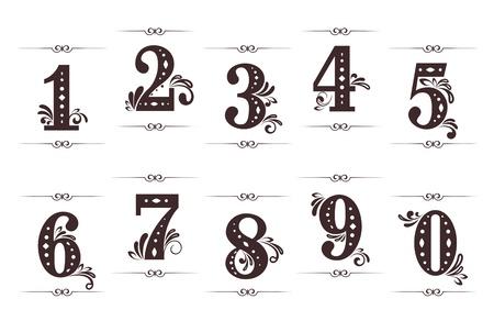 numeros: Vintage d�gitos y los n�meros de conjunto con separadores aislados sobre fondo blanco