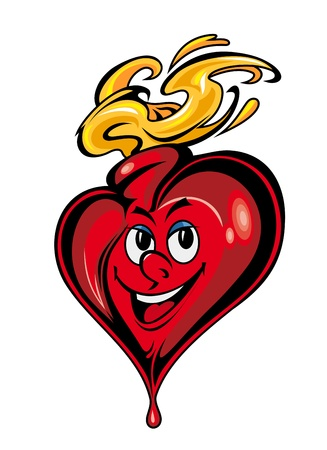 Smiling cartoon heart with eye and fire flames Stock Vector - 12306837