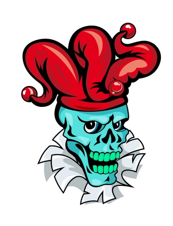 Cartoon Joker skull on torned paper for t-shirt design Vector