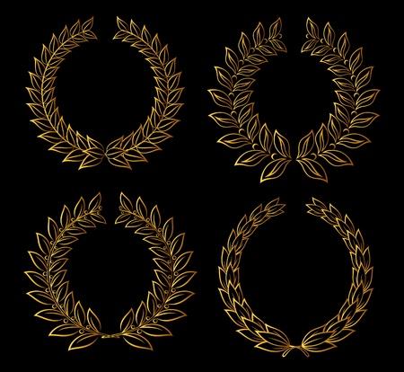 Set of golden laurel wreaths for badge or label design Vector