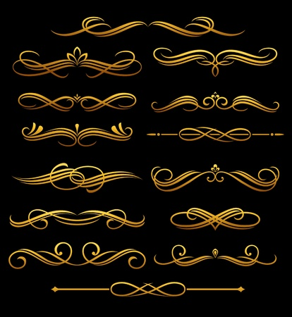 Golden vintage elements and borders set for ornate and decoration Stock Vector - 12306840
