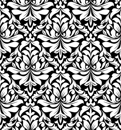 Floral seamless damask pattern in white and black colors Vector