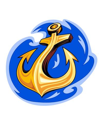 ancre marine: Sailor tatouage - ancre antique en eau de l'oc�an Illustration