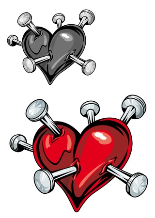 Damaged heart with nails for t-shirt or tattoo design Vector