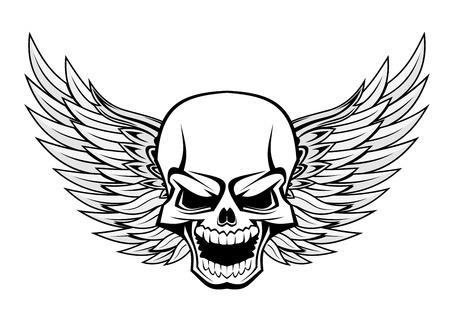 horror skull: Danger smiling skull with wings for tattoo design