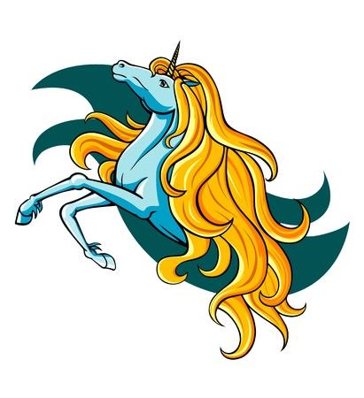 yegua: Fantas�a unicornio en estilo de dibujos animados de la mascota o el emblema Vectores