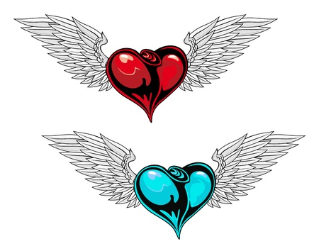 Retro heart with wings for t-shirt or tattoo design Vector