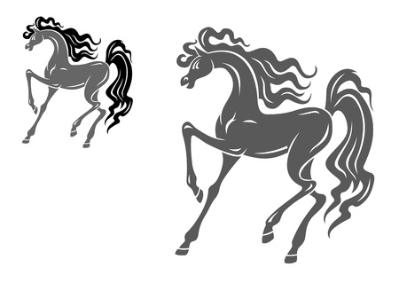 horseback riding: Silhouette of grey horse for equestrian design Illustration