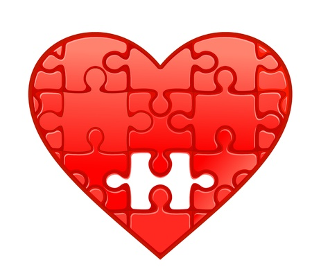 health symbols metaphors: Red heart with puzzles as a concept of romantic love