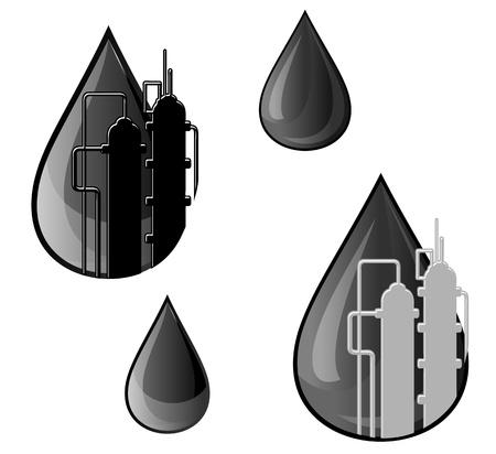 refinería de petróleo: Petróleo y la gasolina para el diseño de símbolos refinería de la industria Vectores