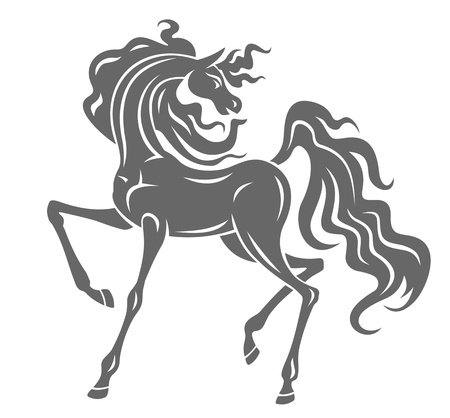 dressage: Silhouette of gray stallion in cartoon style for equestrian design